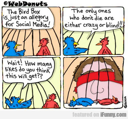 the bird box is just an allegory for social media!