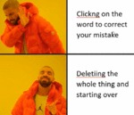 Clickng On The Word To Correct Your Mistake...