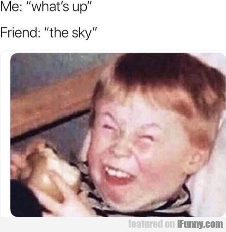 Me: What's Up - Friend: The Sky