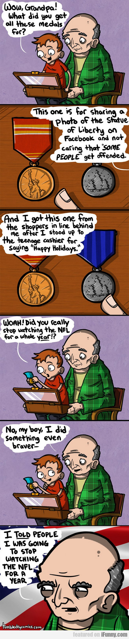 wow, grandpa! what did you get all these medals...