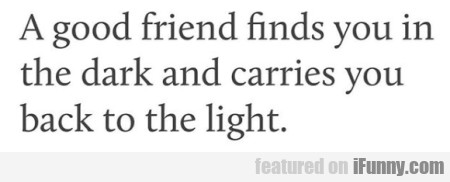 A Good Friend Finds You In The Dark And Carries...