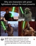Why Are Characters With Green Lightsabers...