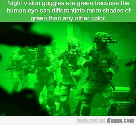 Night Vision Goggles Are Green Because The Human..