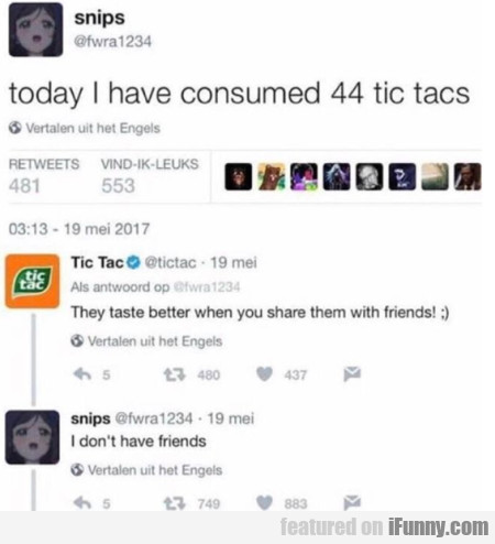 Today I Have Consumed 44 Tic Tacs