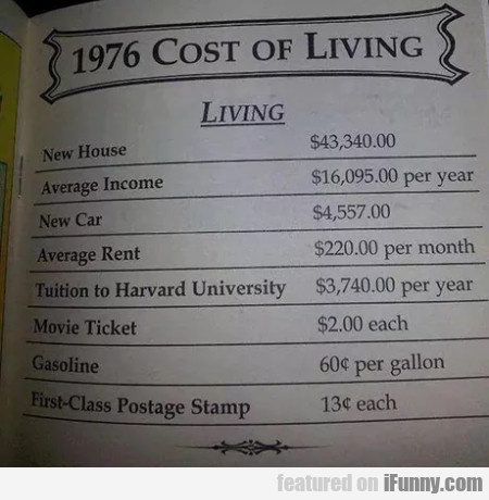 1976 - Cost Of Living - New House...
