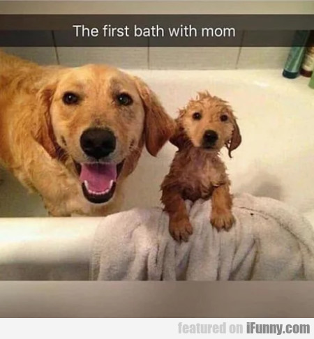 The First Bath With Mom