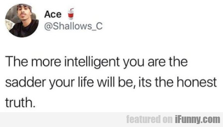 The More Intelligent You Are The Sadder...
