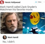 Mark Hamill Called Zack Snyder's Watchmen His...