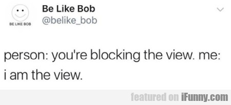 person - you're blocking the view