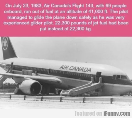 On July 23, 1983, Air Canada's Flight 143 With...