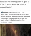 Because The Melting Point Of Gold Is 1064c...