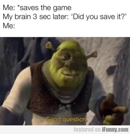 Me - Saves The Game - My Brain 3 Sec Later...