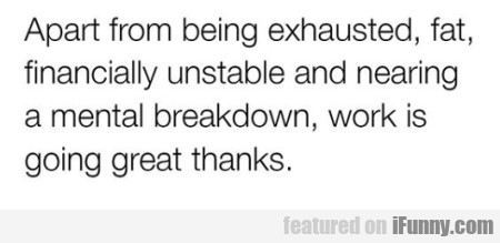 Apart From Being Exhausted, Fat, Financially...