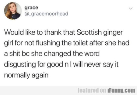 Would Like To Thank That Scottish Ginger