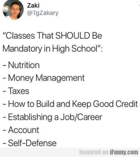 Classes That Should Be Mandatory In High School