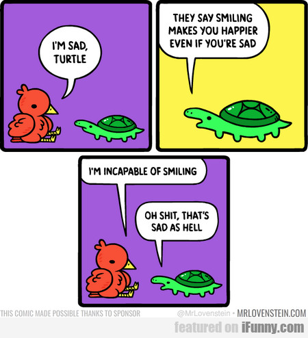 I'm Sad, Turtle. They Say Smiling Makes You...