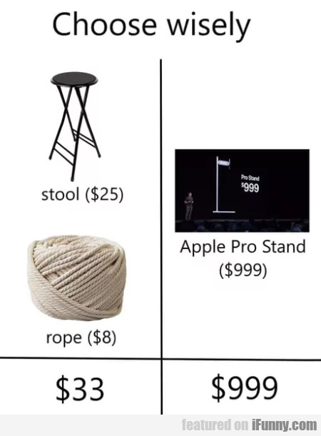 Choose wisely - Stool - Rope - Apple Pro Stand