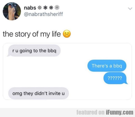 the story of my life - r u going to the bbq