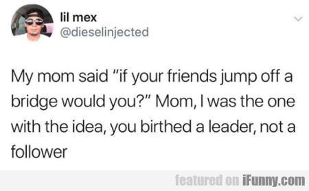 My mom said if your friends jump off a bridge...