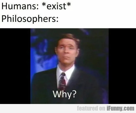 Humans - Exist - Philosophers - Why?