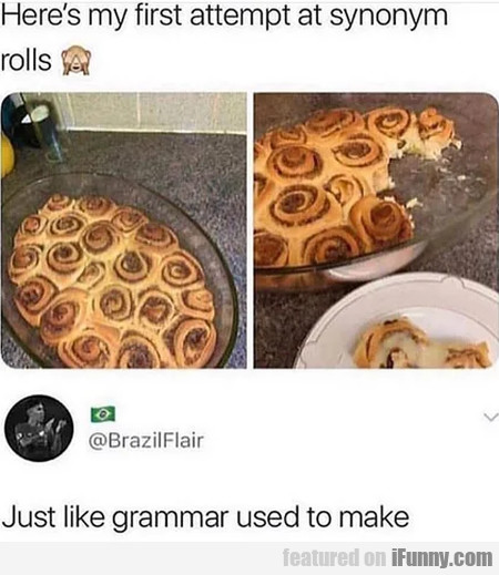 Here's My First Attempt At Synonym Rolls