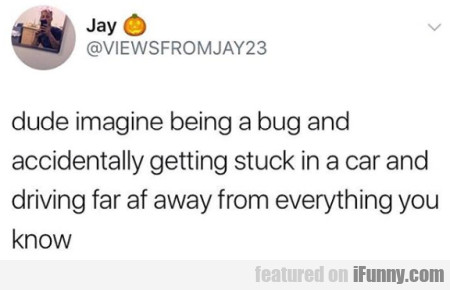 Dude Imagine Being A Bug And Accidentally Getting