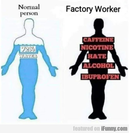 Normal person - Factory worker - 72% water...
