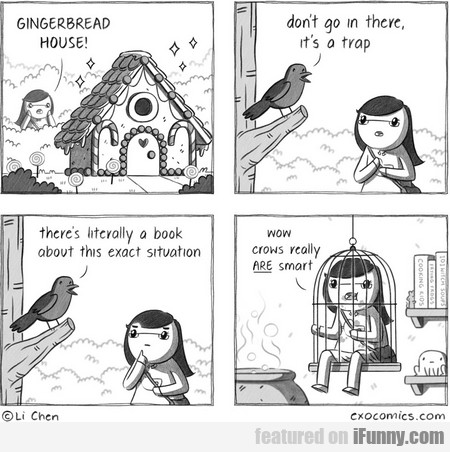 gingerbread house! don't go in there, it's a trap.