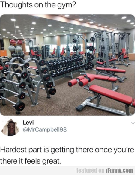 Thoughts On The Gym - Hardest Part Is Getting...