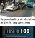 Man Personalizes His Car With School Stickers...