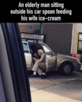 An Elderly Man Sitting Outside His Car Spoon...