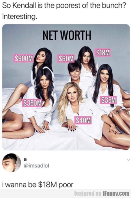 So Kendall Is The Poorest Of The Bunch