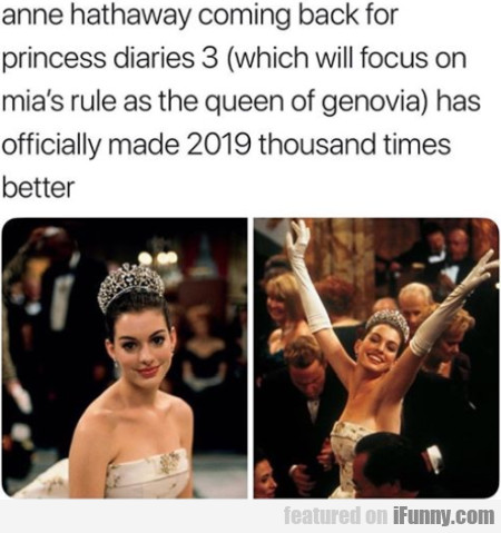 Anne Hathaway Coming Back For Princess Diaries 3