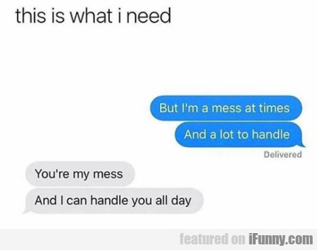 This Is What I Need - But I'm A Mess...