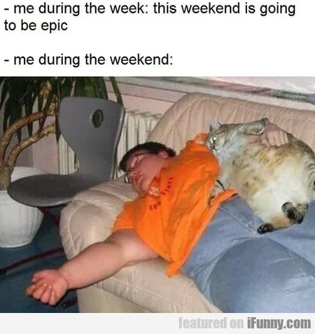 Me during the week - This weekend is going...