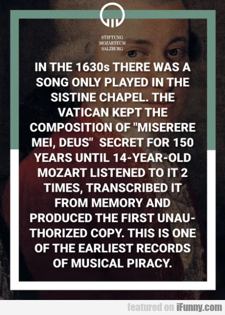 In The 1630s There Was A Song Only Played...