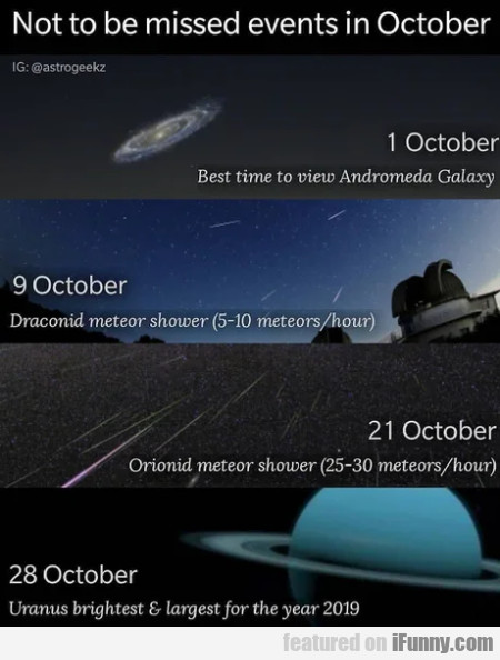 Not to be missed events in October
