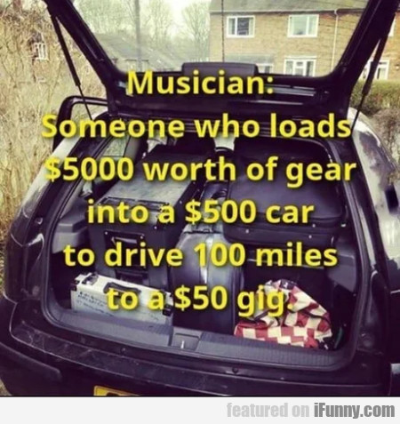 Musician - Someone Who Loads $5000 Worth Of Gear
